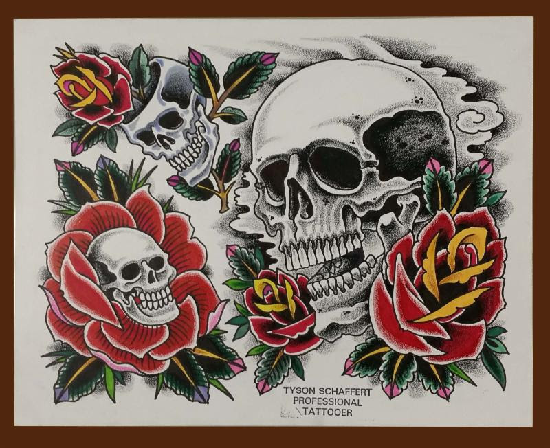 Tattoos And Their Meanings Roses And Skulls Iron Brush Tattoo